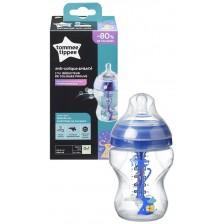 Бебешко шише Tommee Tippee Advanced Anti-Colic - 260 ml, с биберон 1 капка, синьо -1