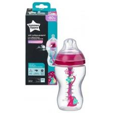 Бебешко шише Tommee Tippee Advanced Anti-Colic - 340 ml, с биберон 2 капки, розово -1