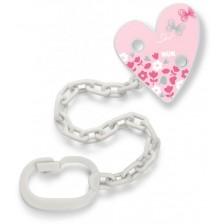 Синджир за биберон NUK - Сърце, розов -1