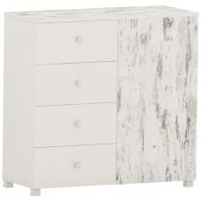 Скрин с 4 чекмеджета Arbor - №11, 97 х 100 х 40 cm, сив антик и бяло -1
