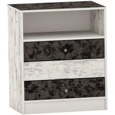 Скрин с три чекмеджета Arbor - №5, 84 х 76 х 50, черно и сив антик -1