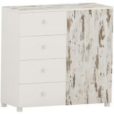 Скрин с 4 чекмеджета Arbor - №11, 97 х 100 х 40 cm, кафяв антик и бяло -1