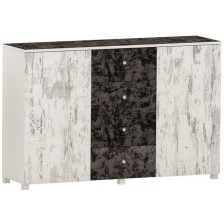 Скрин с 4 чекмеджета Arbor - №12, 97 х 150 х 40 cm, черен и сив антик -1