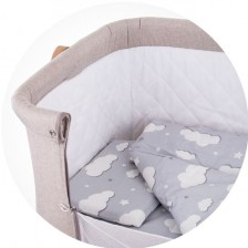 Спален комплект за мини кошара Chipolino - Облаче, сиво -1