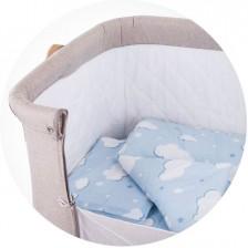 Спален комплект за мини кошара Chipolino - Облаче, синьо -1