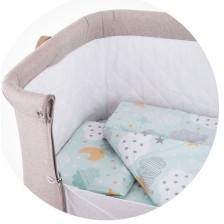Спален комплект за мини кошара Chipolino - Небе, мента -1