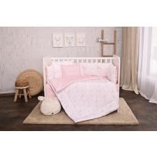 Спален комплект Lorelli - Луни и звезди, розов, 5 части, с голям обиколник -1