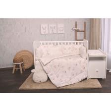 Спален комплект от 5 части Lorelli Ранфорс - Зайчета, екрю -1