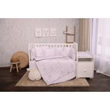 Спален комплект Lorelli - Тренд, Сиво райе, ранфорс -1