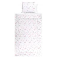Спален комплект с две лица Lorelli - Луни и звезди, розов, 4 части -1