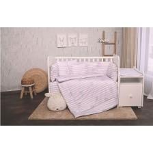 Спален комплект Lorelli - Лили, Сиво райе, 60 х 120 cm -1