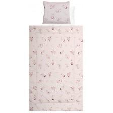 Спален комплект с две лица Lorelli - Екрю зайчета, розов, 4 части -1