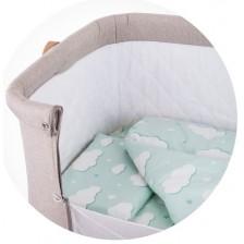 Спален комплект за мини кошара Chipolino - Облаче, мента -1