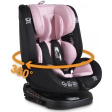 Столче за кола Moni - Serengeti, 0-36 kg, с Isofix, розово -1