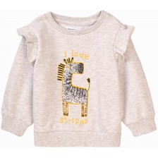 Суитшърт с декорация от пайети Minoti - Zebra, 12-18 месеца -1