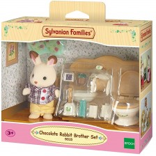 Комплект фигурки Sylvanian Families - Зайче, Chocolate, с баня -1