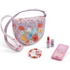 Текстилна чанта Djeco - Птици, с аксесоари от дърво -1