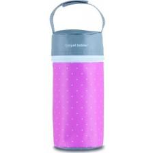 Термоопаковка за шише Canpol - Polka Dots, розово и сиво -1