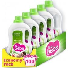 Перилен препарат Teo Bebe Cotton Soft - Alое, 100 изпирания, 5x1.1 l -1