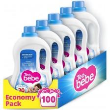 Перилен препарат Teo Bebe Cotton Soft - Almond, 100 изпирания, 5x1.1 l -1