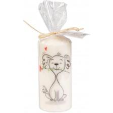 Цветна свещ - Куче с роза -1