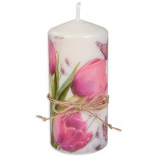Цветна свещ - Лилави лалета, 15 cm -1