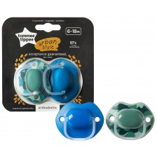 Комплект ортодонтични залъгалки Tommee Tippee Urban Style - 6-18 месеца, 2 броя, за момчета -1