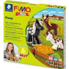 Творчески комплект Staedtler Fimo Kids - Направи си сам фигурки от глина, Pony -1