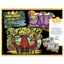 Творчески комплект Djeco - Животни в саваната, кадифени картини -1