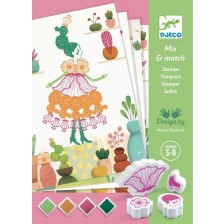 Творчески комплект Djeco - Рисуване с печати, Flower girl -1