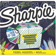 Творчески комплект Sharpie - 12 маркера + 6 етикета -1