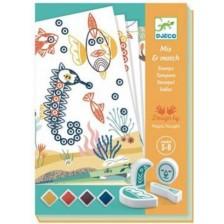 Творчески комплект Djeco - Рисуване с печати, Surprising animals -1