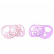 Комплект от 2 залъгалки Twistshake Pacifier - Розова и лилава, от 0 до 6 месеца -1