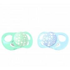 Комплект от 2 залъгалки Twistshake Pacifier - Зелена и синя, от 0 до 6 месеца -1