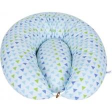 Възглавница за кърмене Sevi Baby - 2 части, сини триъгълничета -1