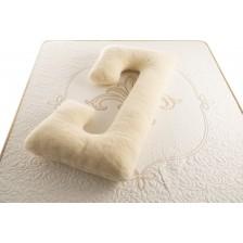 Възглавница за бременни Medico - Happy Mom Organic Wool Double, С-образна форма, с пълнеж от вълна -1