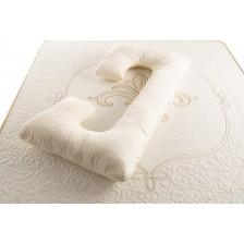Възглавница за бременни Medico - Happy Mom Pure Cotton and Wool, С-образна форма, с пълнеж от вълна -1