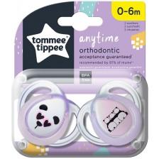 Залъгалки Tommee Tippee - Anytime, Панди, 0-6 месеца, 2 броя, розови -1
