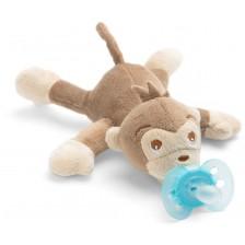 Залъгалка с плюшена играчка Philips Avent - Ultra Soft, маймунка -1