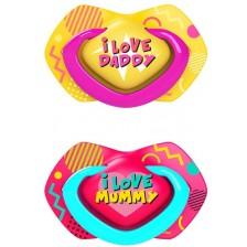 Залъгалки Canpol Light touch - Neon love, 6-18 месеца, 2 броя, розови -1