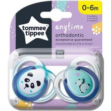 Залъгалки Tommee Tippee - Anytime, Панди, 0-6 месеца, 2 броя, тюркоаз -1