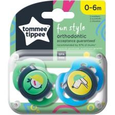 Залъгалки Tommee Tippee - Fun Style, 0-6 мeсеца, куче и пиле, 2 броя -1