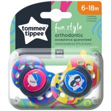Залъгалки Tommee Tippee - Fun Style, 6-18 месеца, пилета, 2 броя -1