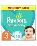 Бебешки пелени Pampers - Active Baby 3, 208 броя  - 4t